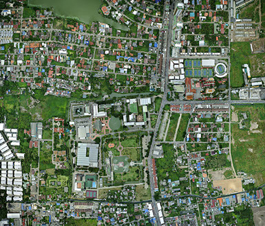 Ariel photo mapping In Bangkok In detail